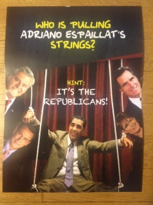 Congressman Charlie Rangel's latest campaign mailing attacks his main competitor, Adriano Espaillat, on several issues. Photos by J. Moss