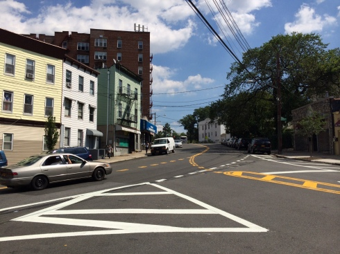 There are also no crosswalks at this complicated intersection of two wide, curvy streets: Fort Independence Street and Heath Avenue. (Photo: Jordan Moss)